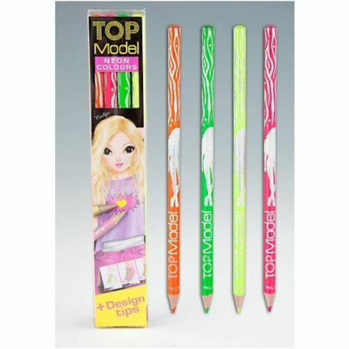TOPModel Neon Colouring Pencil Set 4 Colours Length 1cm Width 3cm Height 17.8 cm