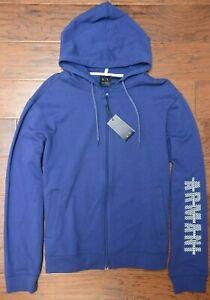 Armani-Exchange-A-X-Men-039-s-Full-Zip-Medium-Blue-Cotton-Hooded-Jacket-Hoodie-2XL