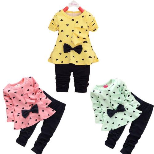 2PCS Newborn Baby Kids Outfits Clothes Cotton Bow Tee T shirt Top+Pants Sets UK