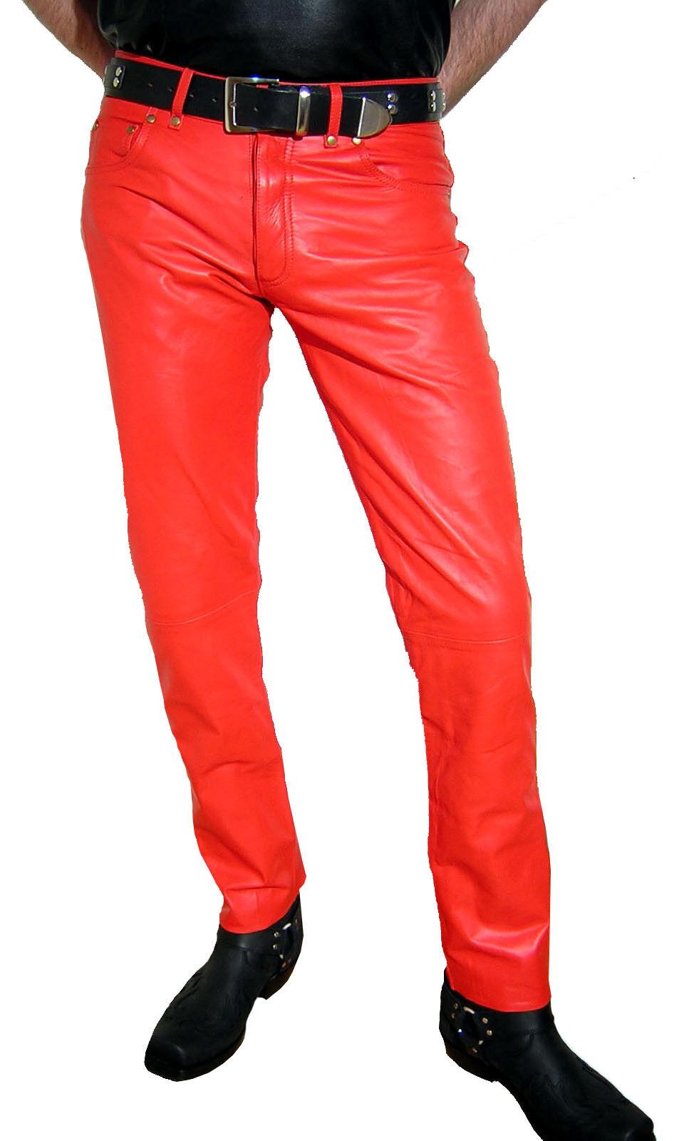 LEDERHOSE rot Lederjeans neu Hose Leder Lustfashion leather trousers pants rot
