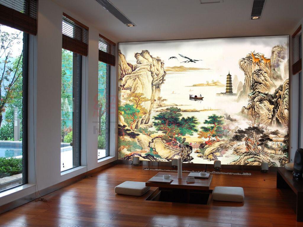 3D Berg Zeichnen Wälder 9077 Tapete Wandgemälde Tapeten Bild Familie DE Kyra