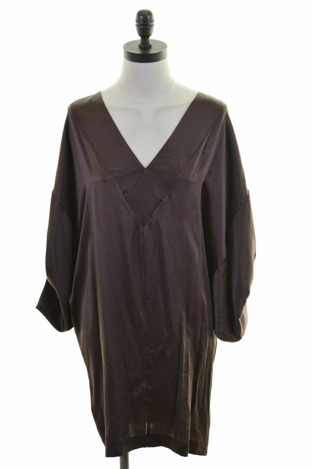 CBG MAXAZRIA damen Kimono Dress Größe 8 Small Brown Silk OverGrößed  JD89