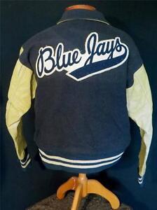 VERY-RARE-1950-039-S-BLUE-WOOL-AND-LEATHER-034-BLUE-JAYS-034-STADIUM-JACKET-SIZE-LARGE
