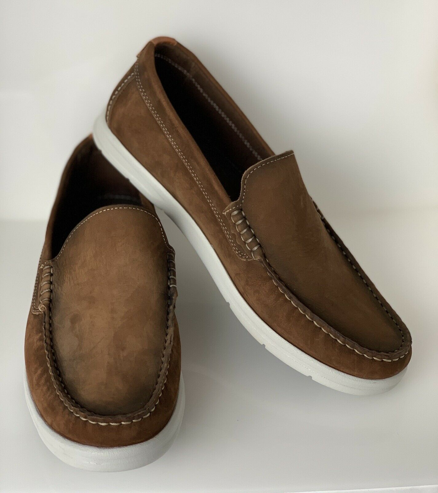Men's Savelli Brown Loafer Shoe Size Uk 8 Eu 42 Boat Style suede Shoes