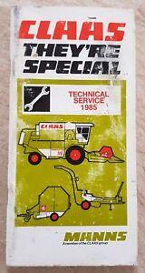 Claas Service Technique Livret 1985-afficher Le Titre D'origine