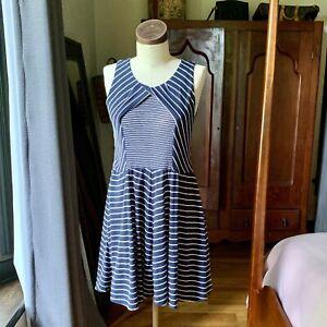 HEM & THREAD Anthropologie Blue Stripe Cotton Sleeveless Dress LARGE
