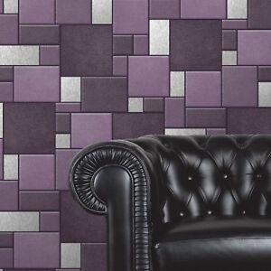 Image Is Loading Purple Tile Wallpaper Kitchen And Bathroom Tiling On