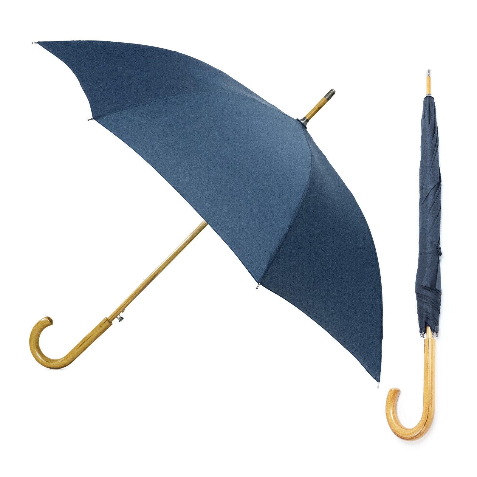 Unisex Windproof Walking Umbrella With Strong Fibreglass Ribs Wooden Handle