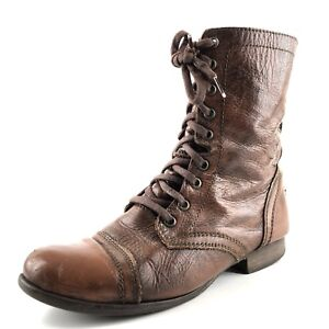 558f9bb3dff Details about Steve Madden Troopa Brown Leather Combat Short Boots Women  Size 7.5 M