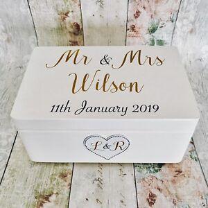 Details About Personalised Wooden Wedding Keepsake Box White Gold Gift Wood Mr Mrs