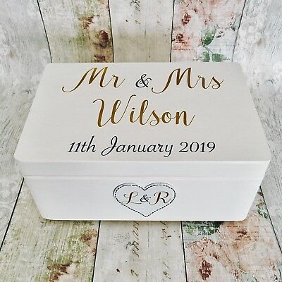 Personalised Wooden Wedding Keepsake Box White Gold Gift Wood Mr Mrs Ebay