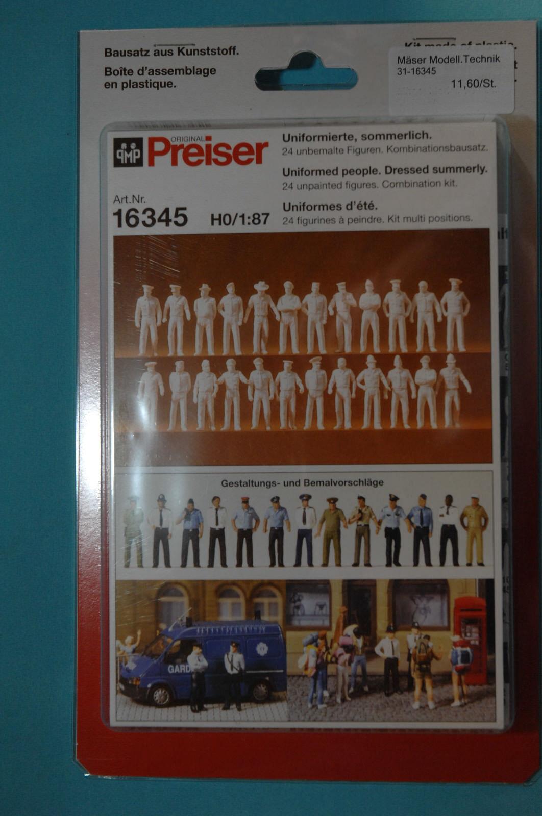 1:87 Preiser 16345 h0 NEUF estivale 24 unbemalte personnages en soit