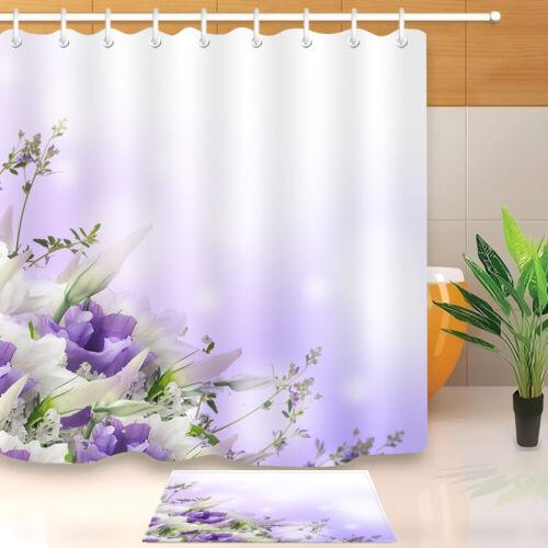 Purple Dream Backdrop Flowers Fabric Shower Curtain Set Bathroom Rug Decor Hooks