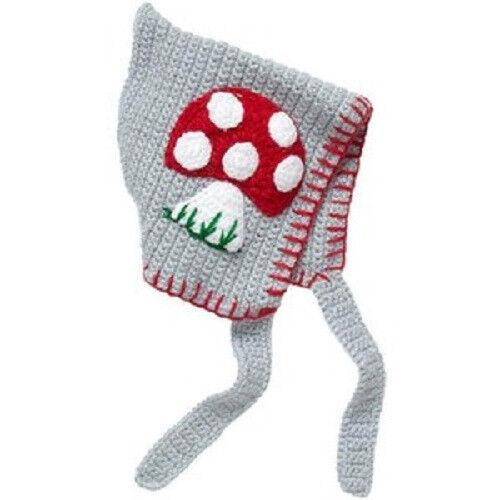 New San Diego Hat MUSHROOM Pixie Bonnet 0-6 months Grey Gray gift Costume prop