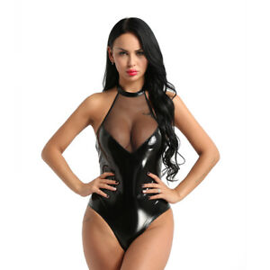 Lenceria-Sexy-de-encaje-de-cuero-para-mujer-aspecto-mojado-Teddy-Bodysuit-Catsuit-Enterizo-Enterito