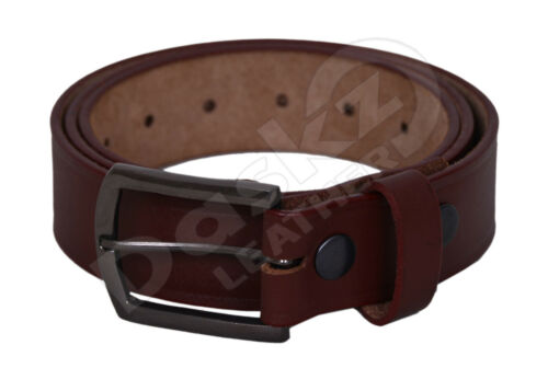MEN/'S LEATHER BELT Black 100/% GENUINE Brown//White 30/'/' to 64/'/'
