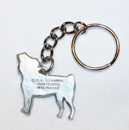 PUGGLE Dog Fine Pewter Keychain Key Chain Ring Fob