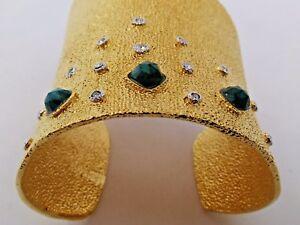 ALEXIS-BITTAR-Cuff-Gold-Tone-Crystal-Rhodium-Mosaic-034-ELEMENTS-034-Asymmetrical-NEW