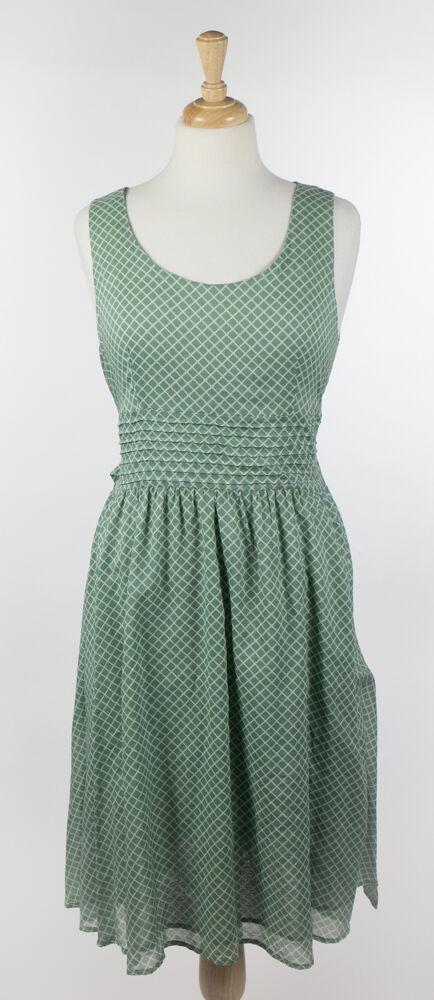 Nwt Peserico Damen Grün Geometrisch Design Baumwollkleid Größe 10 46