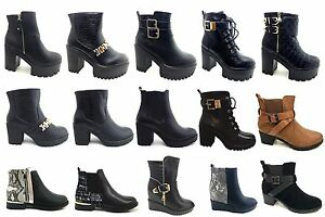 Clearance-ladies-sole-chunky-block-heel-platform-ankle-shoes-boots-size-3-8