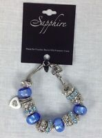 Silver Bracelet With Blue Beads And Rhinestones Free Shipping