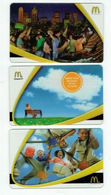 McDonalds Gift Card LOT of 3 - Ronald, Playground - 2005 & 2006 - No Value