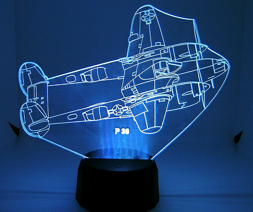 P 38 RC Warbird Airplane 3D Acrylic Light with Extras