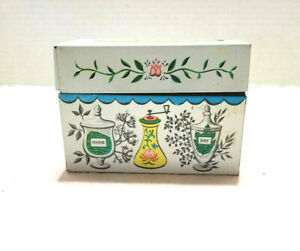 Vintage J Chein Co Recipe Box and Cards Herbs and Spices Theme
