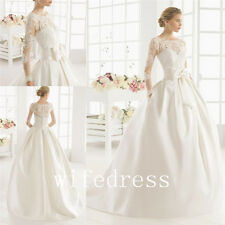 New Wedding Dress Bridal Ball Gowns Pocket Applique Long Sleeve With Bow Custom