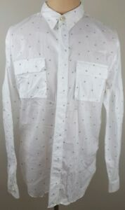 PAUL-SMITH-Mens-Polka-Dot-Flap-Chest-Pockets-Button-Up-Casual-Shirt-Size-Large