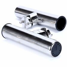 """2x Stainless Clamp On Fishing Rod Holder For Rails 7/8"""" to 1"""" Rail Mount"""