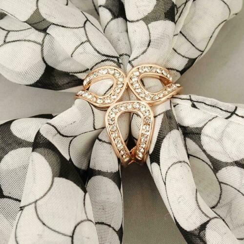 Women Scarf Buckle Ring Clip Holder Crystal Flower Scarves Silk Pin Jewelry F9K9