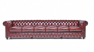 Chesterfield-Leather-Bordaux-Sofa-6-Seat-Couch-Couch-Textile-Fabric-Pads-New