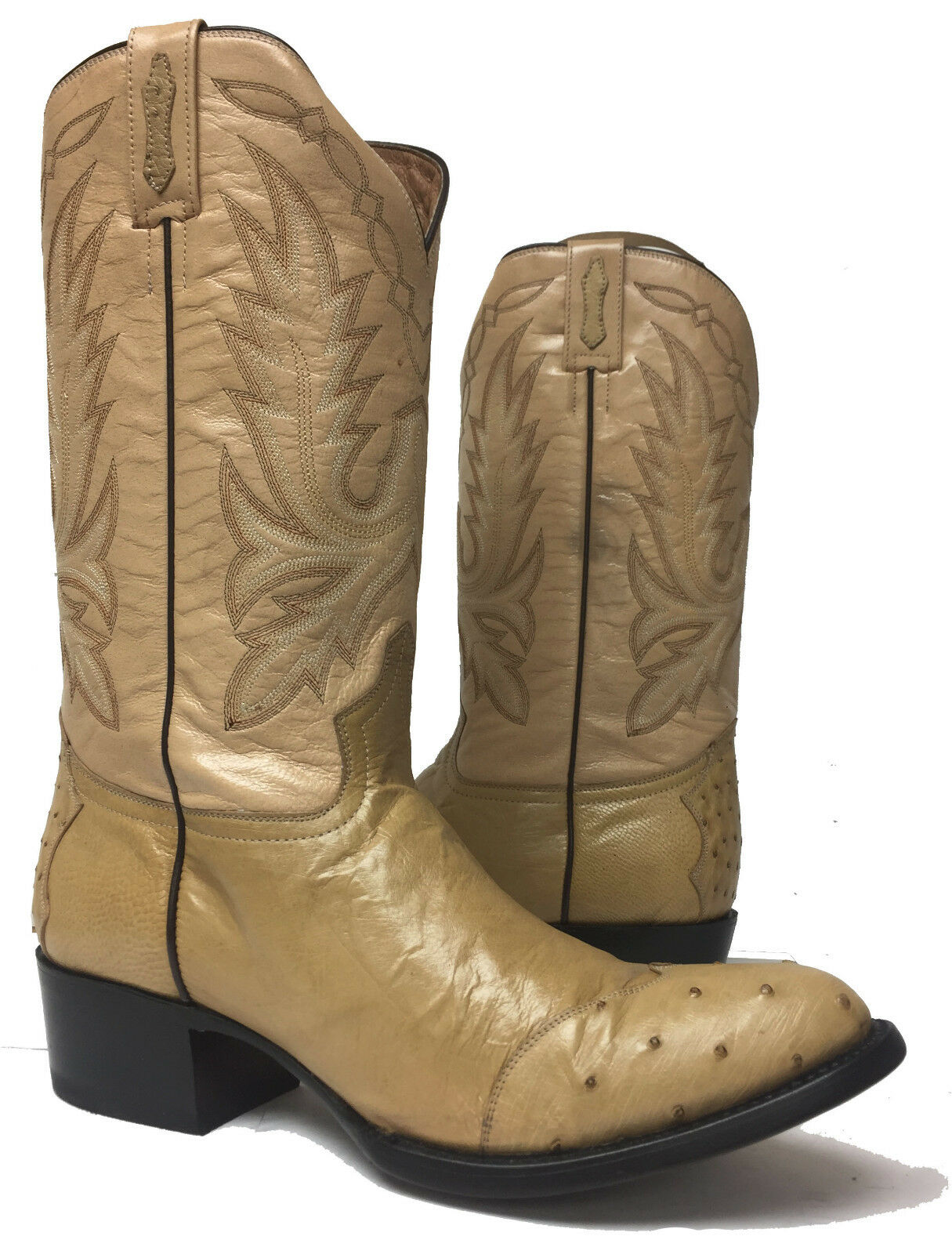 Mens Beige Sand Genuine Real Ostrich Skin Western Leather Cowboy Boots Size 10.5