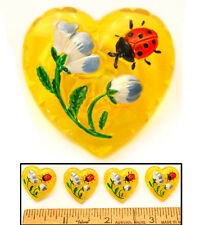 REDUCED! Realistic 22mm Vintage Czech Glass Yellow Heart w/Ladybug Buttons 4pc