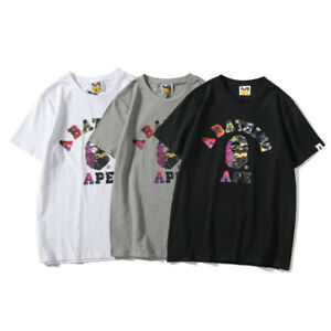 Bape-A-Bathing-Ape-T-shirt-Tee-Colorful-Camo-Monkey-Head-Crew-Neck-Short-Sleeve