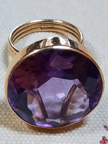 LARGE14K Gold and Amethyst Cocktail Ring