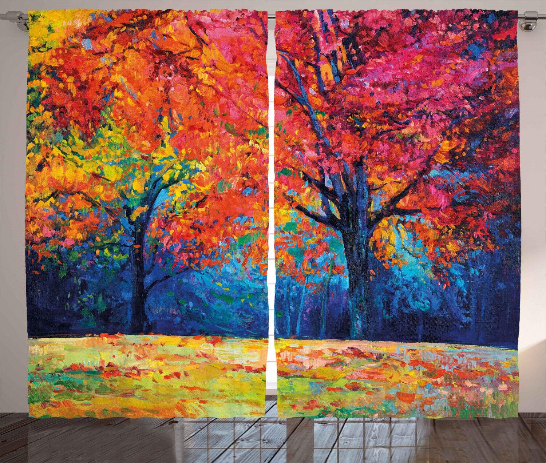 Nature Curtains Coloreeful Autumn Trees Window Drapes 2 Panel Set 108x96 Inches