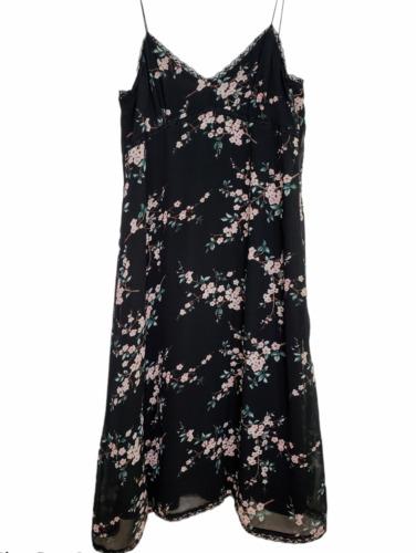 Zara Basic Medium Slip Dress Black Floral Lined V