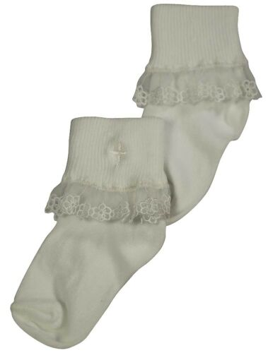 Tic Tac Toe Infant Baby Newborn Girl/'s Rollover Lace Christening Baptism Sock