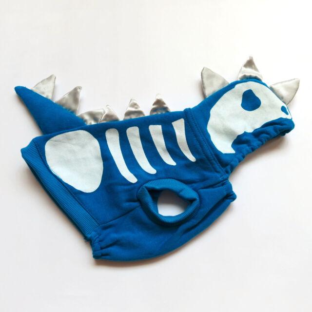 Shark Skull Dog Costume Blue Dog Hoodie Coat Pet Apparel Dog Clothes XS S M L XL