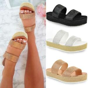 Womens Ladies Slip On Flatform Sandals