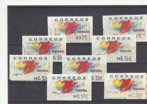 SPAIN-ESPAGNE-ATM-Pesetas-Euro-Tourism-different-values-8v-used