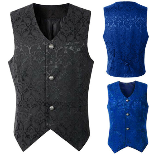 Herren Steampunk Gothic Vintage Einreiher Waistcoat Weste Karneval FreizeitAnzug