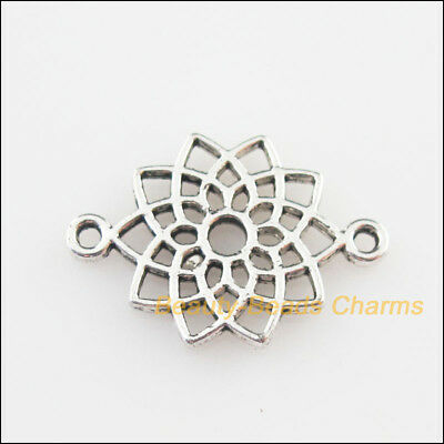 20Pcs Tibetan Silver Tone Mixed Glass Round Flower Charms Pendants 14x20mm