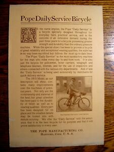1910 Pope Daily Service Bicycle Brochure Original Columbia