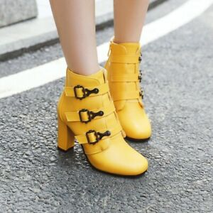 Womens-Fashion-Round-Toe-Buckle-Strap-Side-Zipper-Pumps-High-Heels-Ankle-Boots