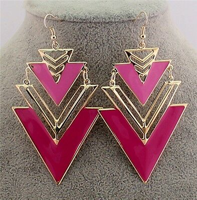 New Design Charm Fashion Jewelry Pink Enamel Gold Nice Triangle Dangles Earrings