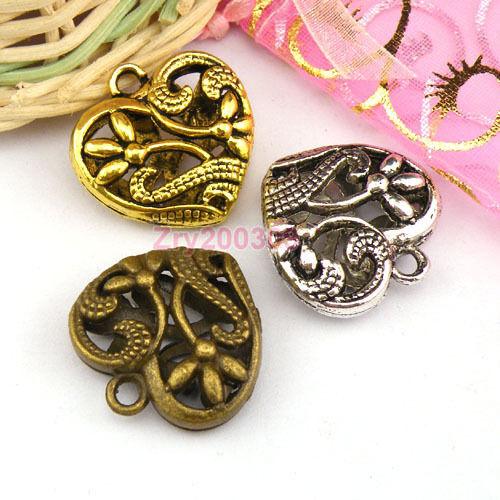 4Pcs Antiqued Silver,Gold,Bronze 3D Hollow Filigree Heart Charm Pendants M1189