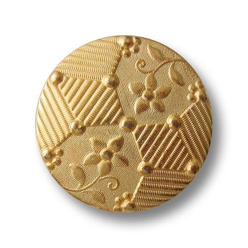 5 belles goldfb Métal œillets Boutons avec des fleurs /& hachurée surfaces 0230 Go